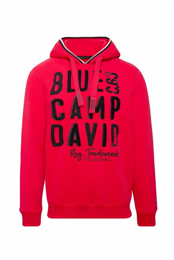 Hoodie mit großen Label-Applikationen royal red