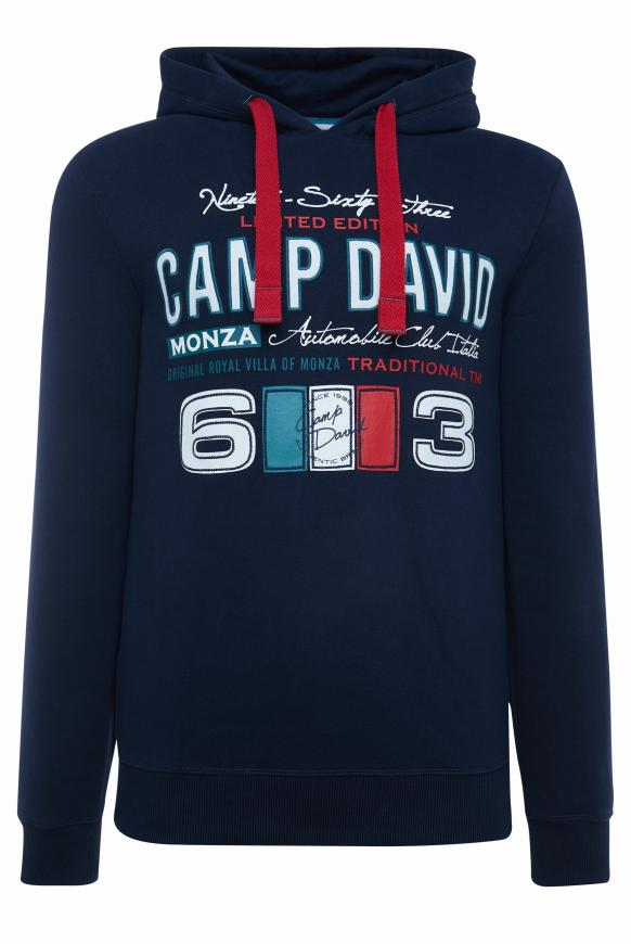 Hoodie mit großen Label-Applikationen blue navy