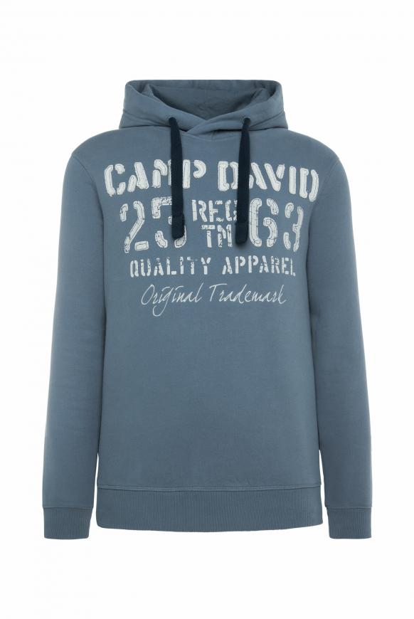 Hoodie mit plakativen Label-Applikationen cliff grey