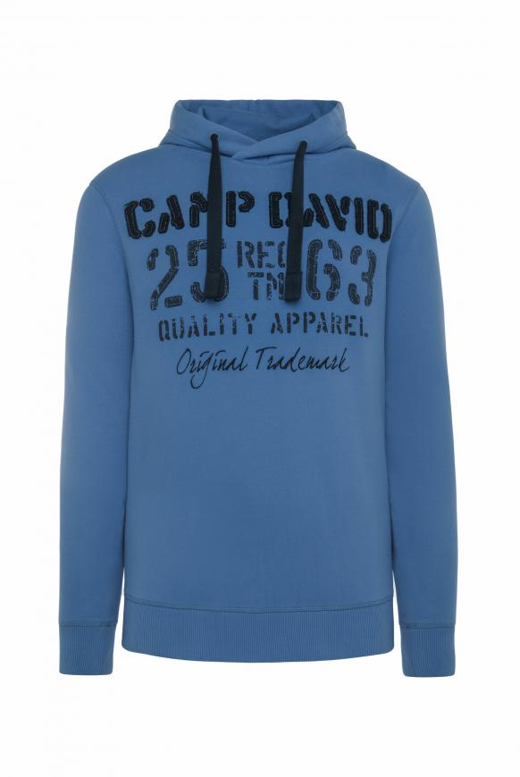 Hoodie mit plakativen Label-Applikationen sky blue