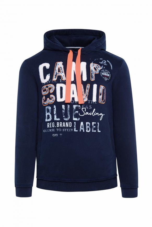 Hoodie mit Raw Edges und Used Artwork blue navy
