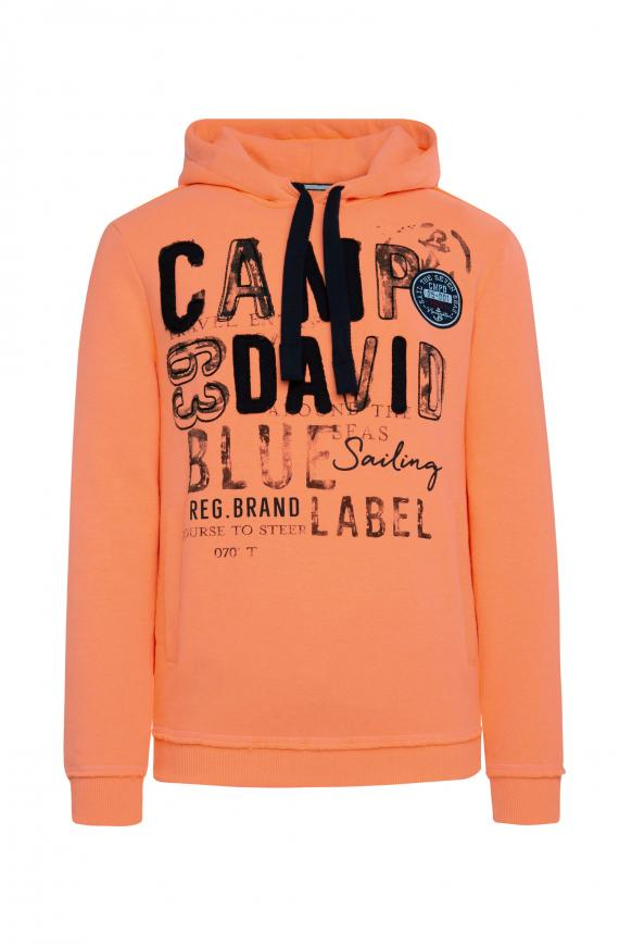 Hoodie mit Raw Edges und Used Artwork neon orange