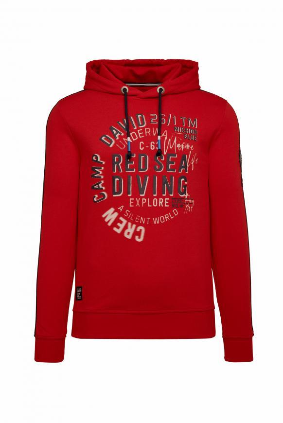 Hoodie mit Rubber Prints und Streifen-Tapes royal red