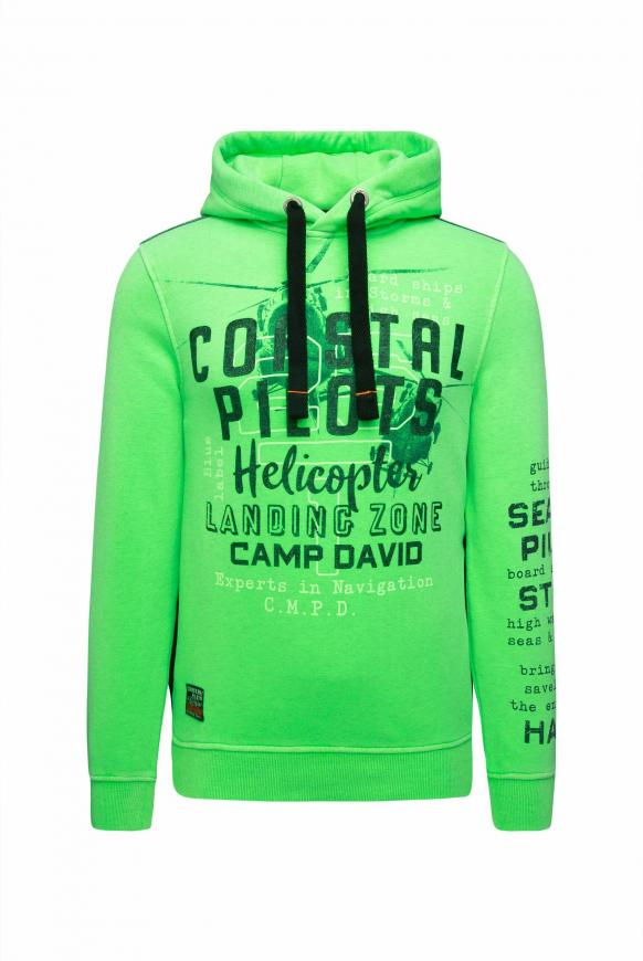 Hoodie mit Used Prints und Tapes neon green