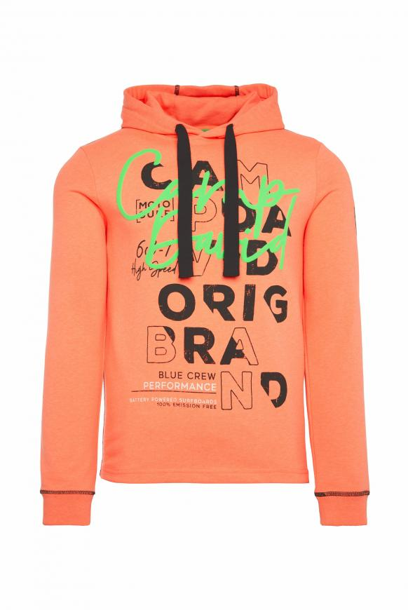 Hoodie mit Used- und Puff Print speed orange