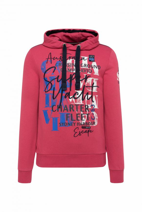 Hoodie mit Watercolour Print und Stickereien yacht red