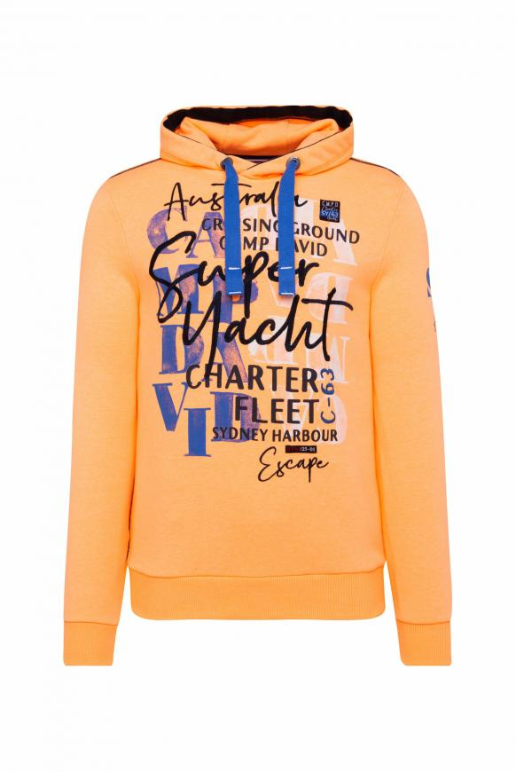 Hoodie mit Watercolour Print und Stickereien sunrise neon
