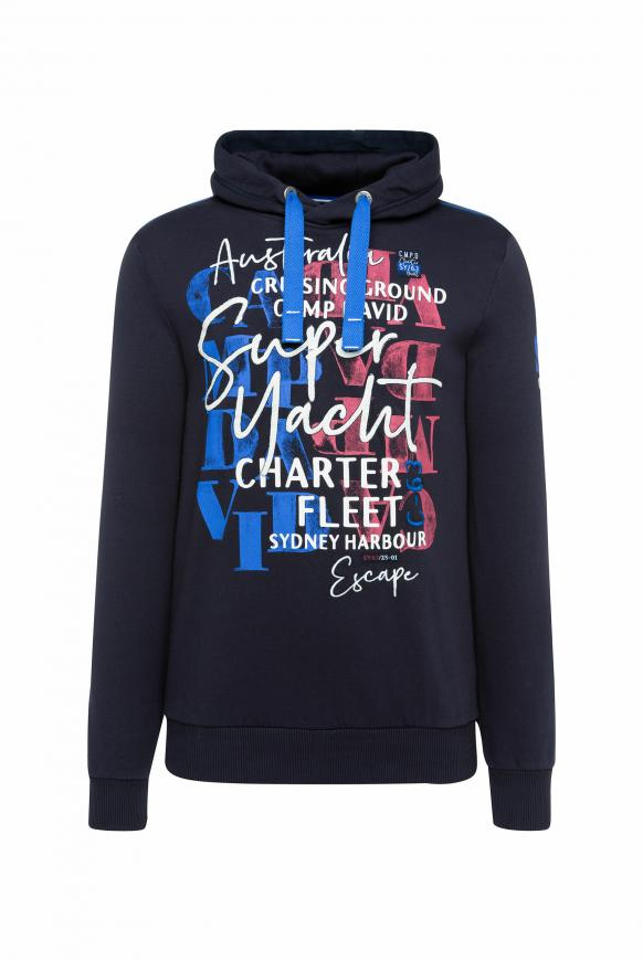 Hoodie mit Watercolour Print und Stickereien deep sea
