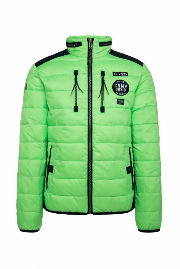 Jacke im Materialmix mit Rücken-Artwork neon green