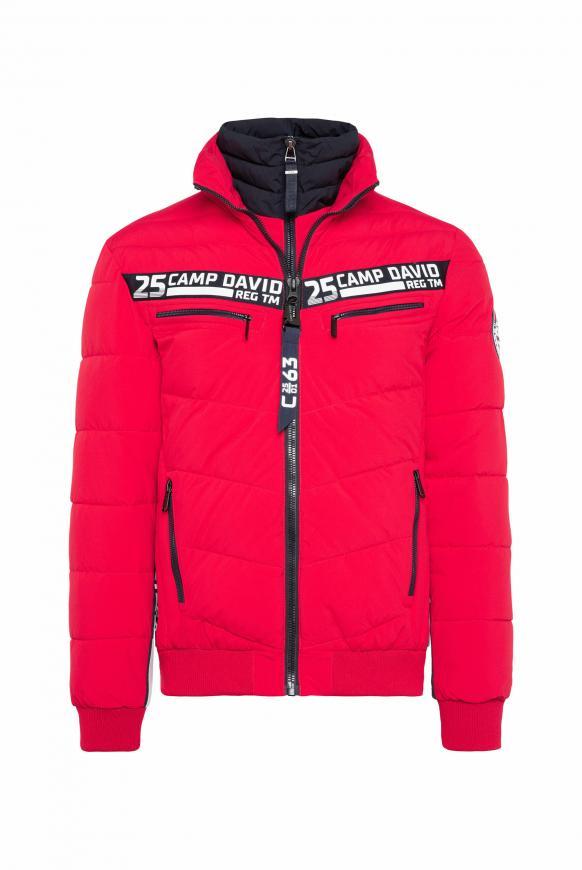 Jacke mit Doppelverschluss und Logo Tapes mission red