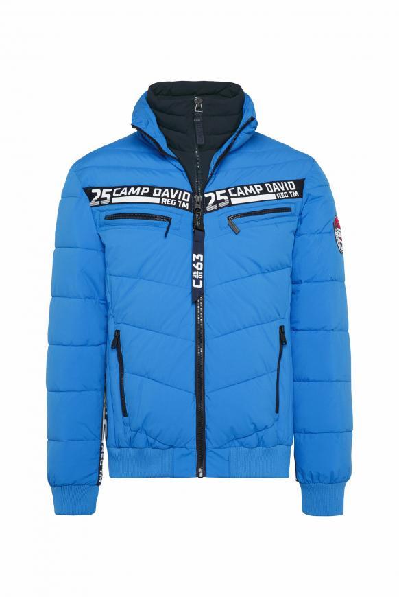 Jacke mit Doppelverschluss und Logo Tapes neon blue