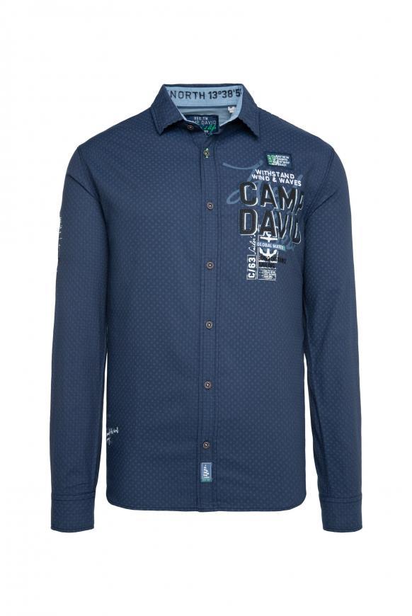 Jacquard-Langarmhemd mit kleinen Artworks blue haze