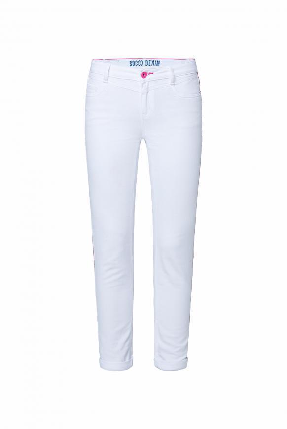 Jeans CH:EA aus Jogg Denim mit Streifen-Tape white