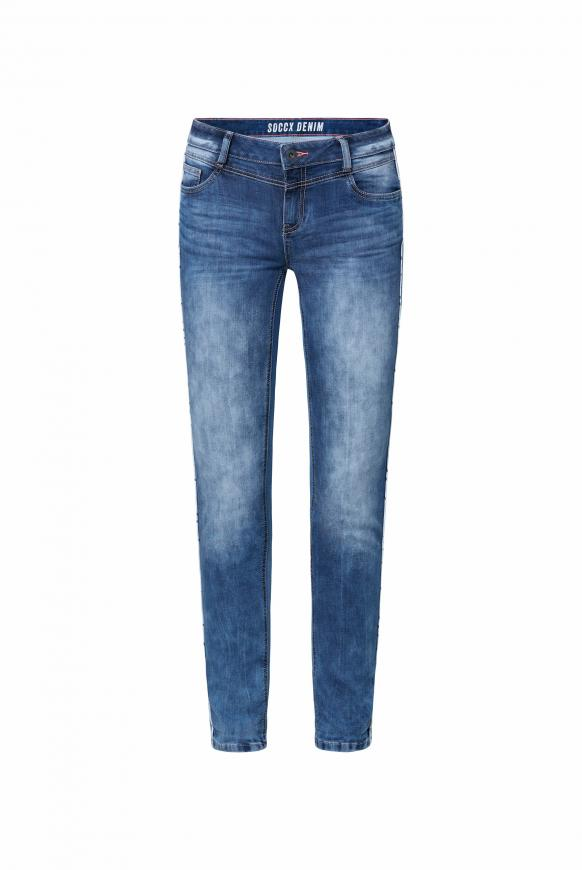 Jeans CH:EA im Materialmix mit Piping dark blue used