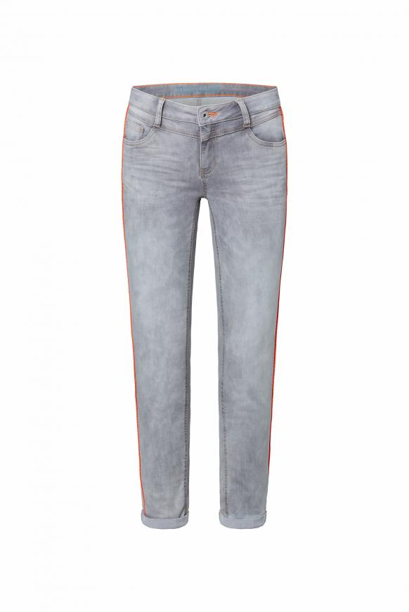 Jeans CH:EA mit Neon-Piping und Used-Optik silver grey