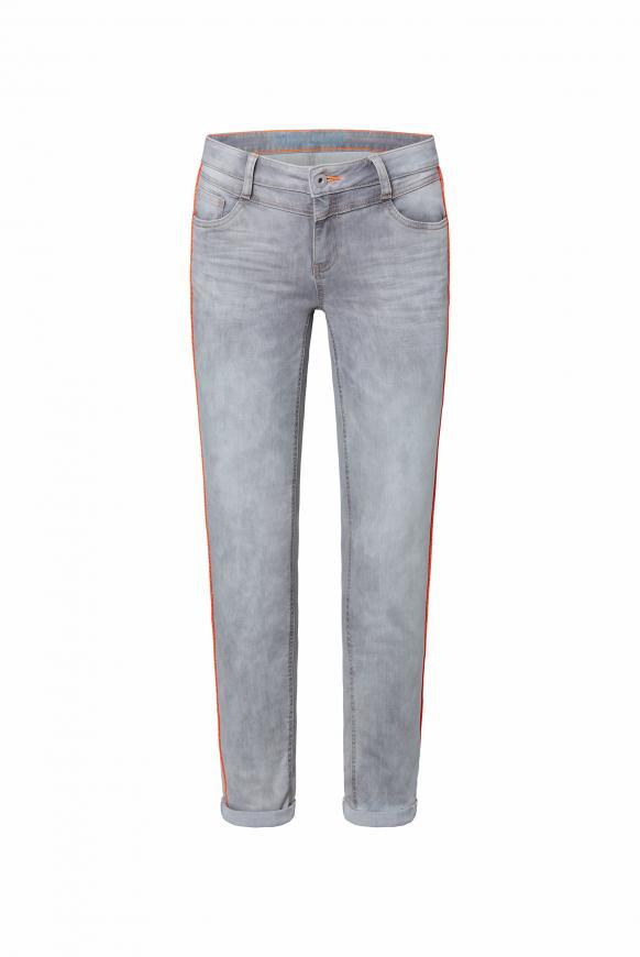 Jeans CH:EA mit Neon-Piping und Used-Optik silver grey