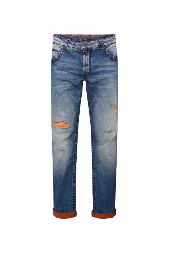 Jeans CO:NO mit Destroys und gefärbter Innenseite blue orange