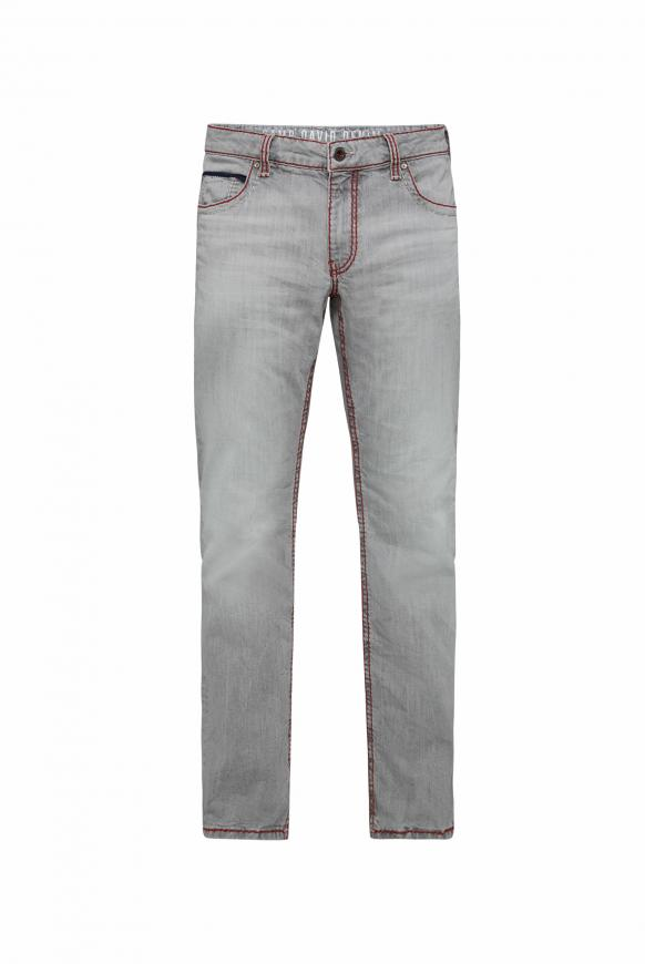 Jeans CO:NO mit Kontrastnähten und Used-Optik light grey