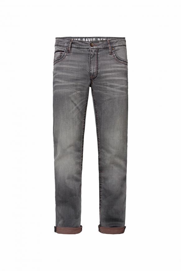 Jeans CO:NO mit zweifarbigen, breiten Nähten old grey used