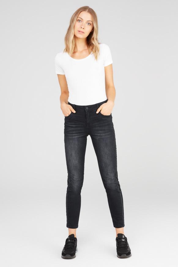 Jeans DA:NA mit Seitentape anthra used