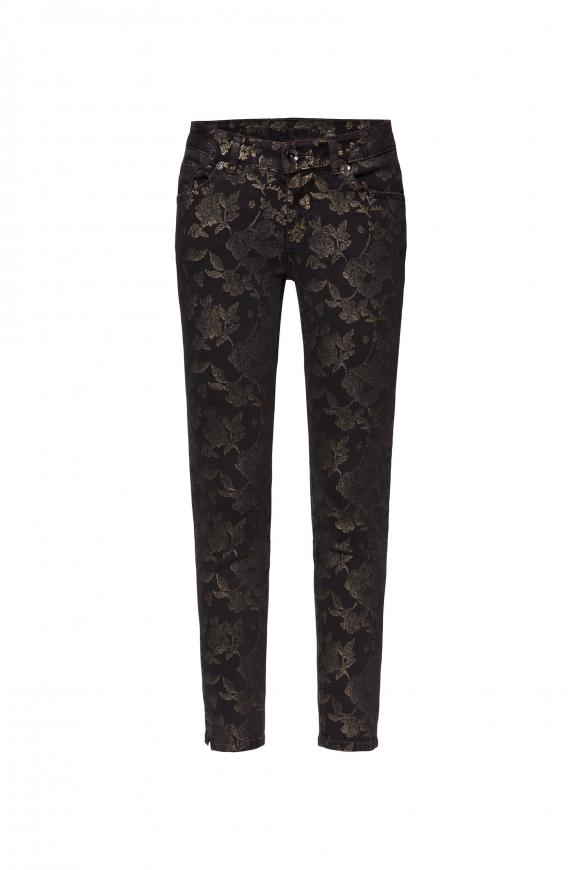 Jeans MI:RA mit Gold Flower Print grey