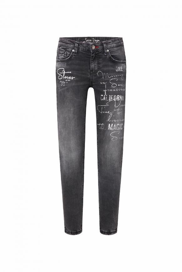 Jeans MI:RA mit Used Wording Prints anthra