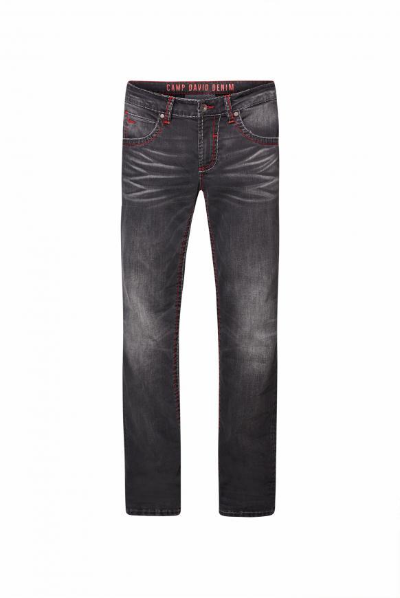 Jeans NI:CO mit Used-Optik und Kontrastnähten dark grey used