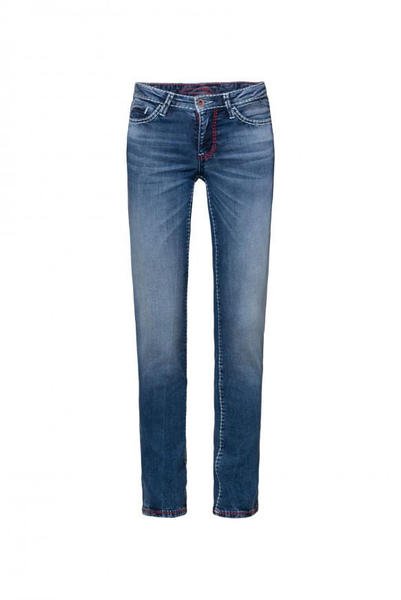 Jeans RO:MY mit geradem Bein und Used Look blue aged