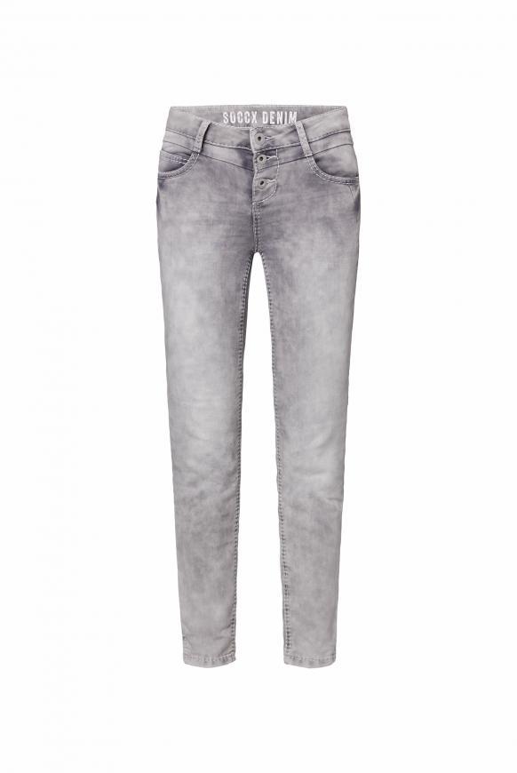 Jogg-Denim MI:RA mit Knopfleiste silver grey used
