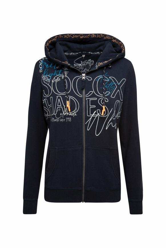 Kapuzenjacke mit Wording Prints horizon navy