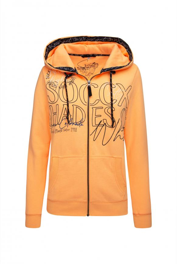 Kapuzenjacke mit Wording Prints sunrise neon