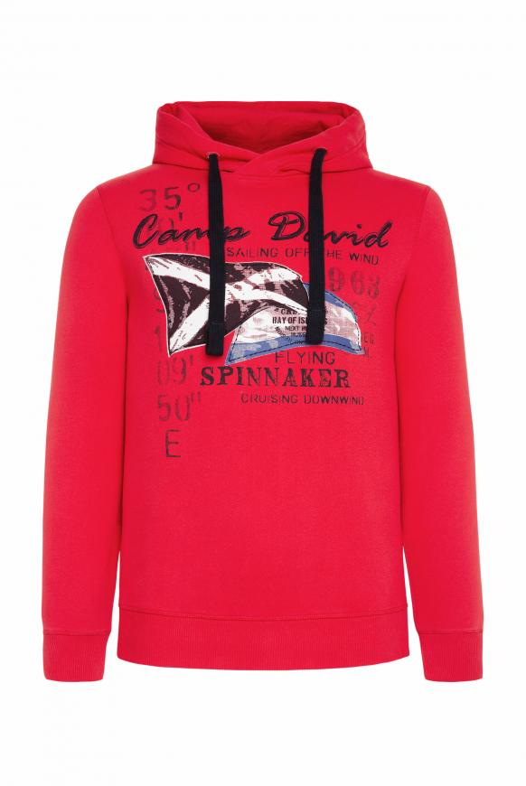 Kapuzensweater mit Sailing Print speed red