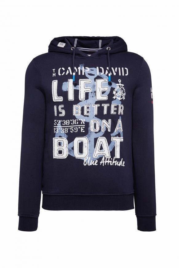 Kapuzensweatshirt mit großem Frontartwork blue navy