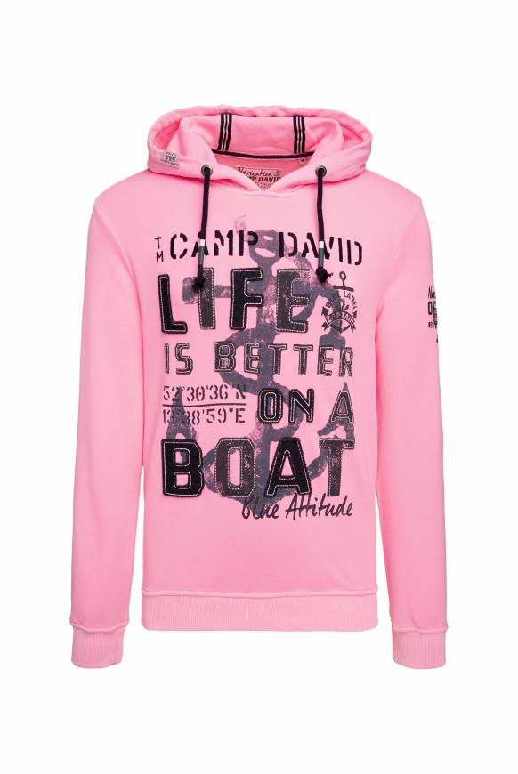 Kapuzensweatshirt mit großem Frontartwork neon pink