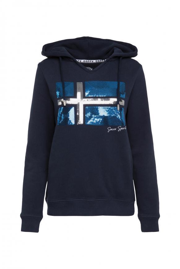 Kapuzensweatshirt mit Pailletten-Artwork blue navy