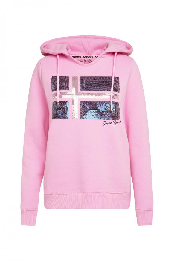 Kapuzensweatshirt mit Pailletten-Artwork candy rose