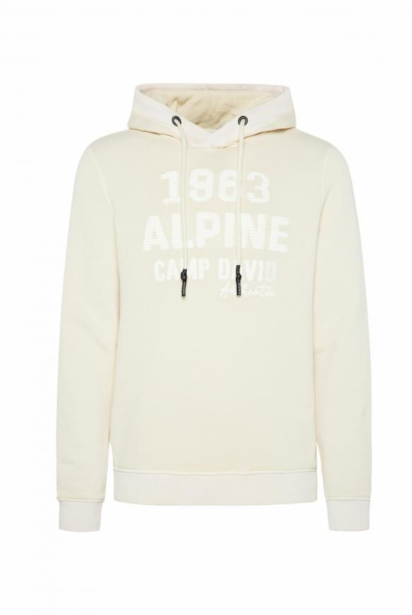 Kapuzensweatshirt mit toniger Stickerei sand white
