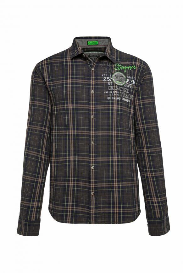 Kariertes Langarmhemd mit Crinkle-Effekt green dawn