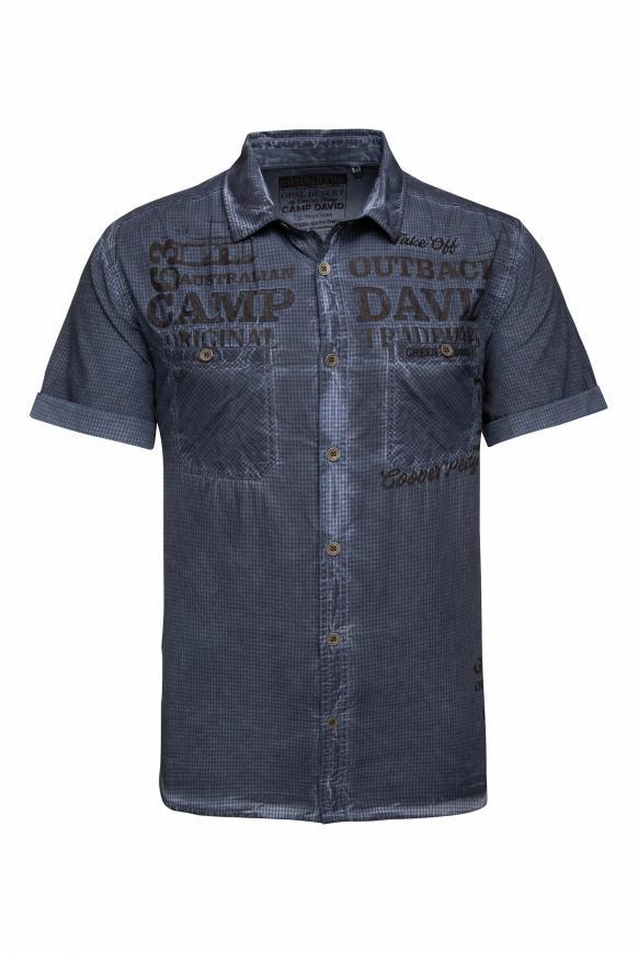 Karohemd mit Used-Färbung und Taschen raw blue