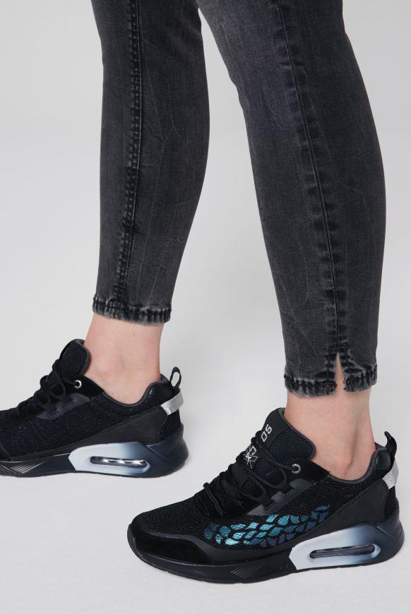 Keil-Sneaker mit Rubber Artwork black