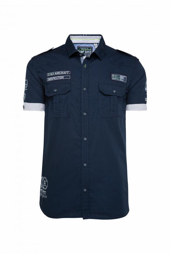 Kurzarmhemd im Piloten-Stil mit Label Patches blue navy