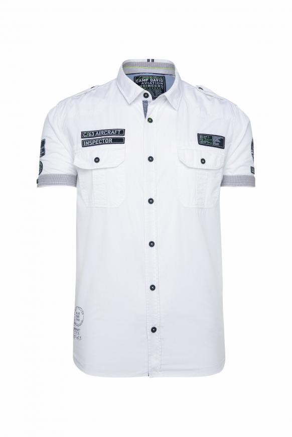 Kurzarmhemd im Piloten-Stil mit Label Patches opticwhite