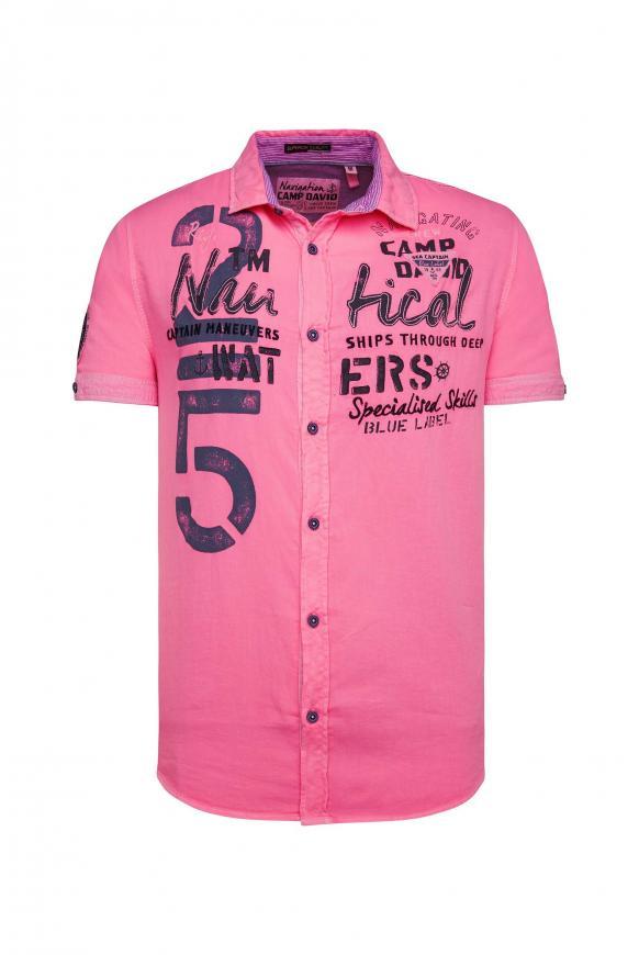Kurzarmhemd mit Artworks und Strukturstreifen neon pink
