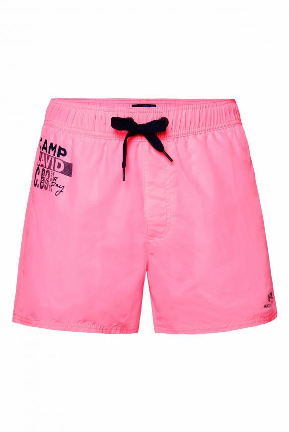 Kurze Badeshorts mit Kontrastkordel und Prints neon pink