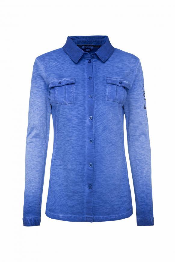 Langarmbluse aus Jersey mit Rücken-Artwork illusion blue