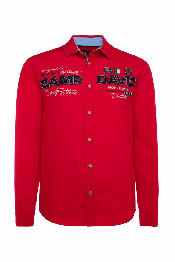 Langarmhemd mit Artworks, Regular Fit racing red