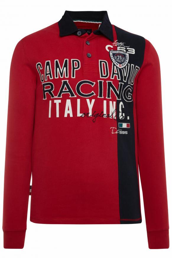 Langarmpolo mit Farbstreifen und Artworks racing red