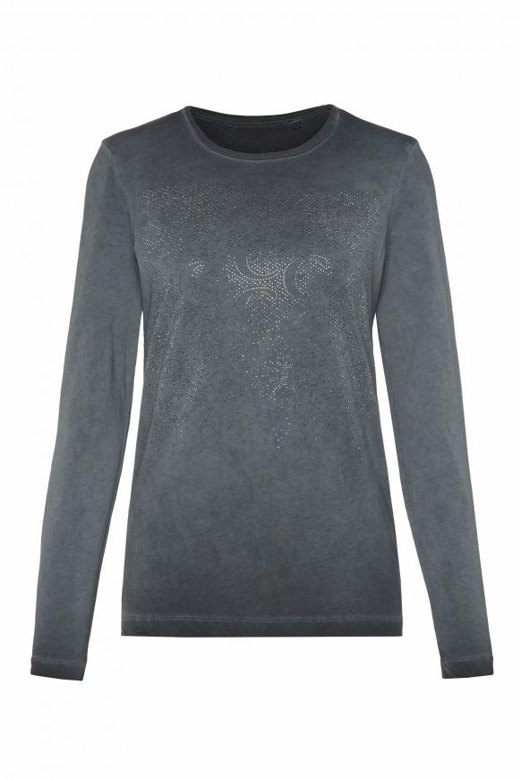 Langarmshirt mit Artwork aus Glitzersteinen black