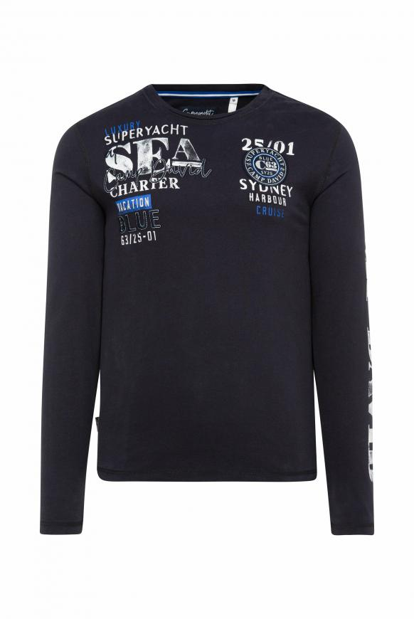 Langarmshirt mit Logo-Applikationen deep sea