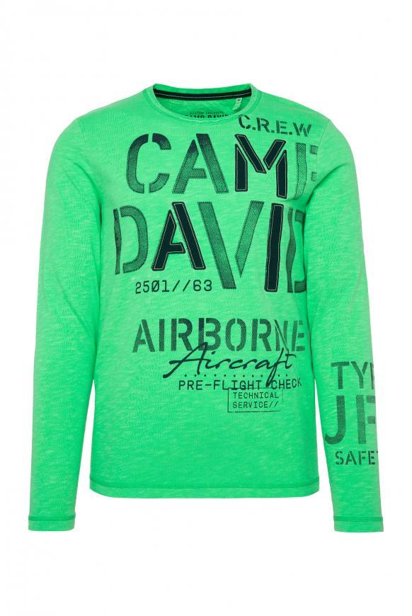 Langarmshirt mit Logo-Applikationen electric green